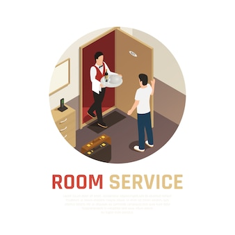 Room service round composition with waiter bringing tray of food to hotel room