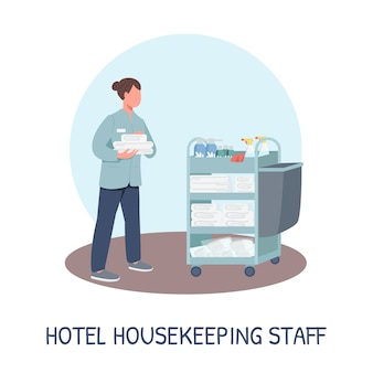 Room service social media post mockup. hotel housekeeping staff phrase. web banner design template. resort cleaning booster, content layout with inscription. poster, print ads and flat illustration