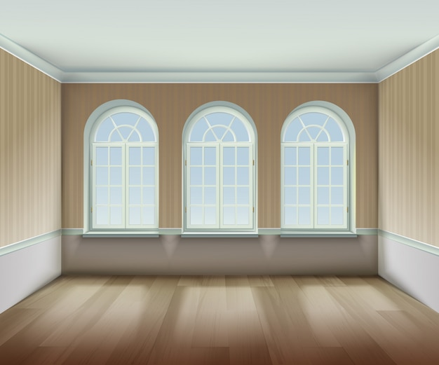 Room with  arched windows background
