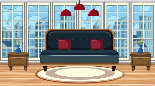 Room with big sofa and carpet