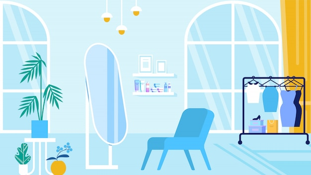 Room with blue interior beauty salon and showroom