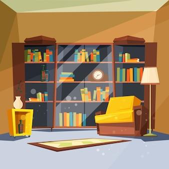 本の部屋。写真を読むためのリビングルーム内にホームライブラリの棚がある家のアパート