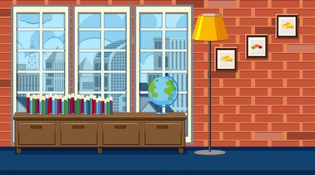 Комната с книжной полкой и высокой лампой