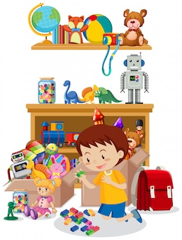 Room with boy playing toys on the floor