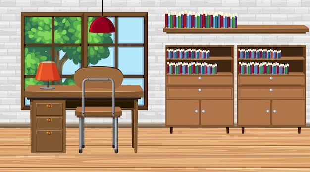 Room with desk and bookshelves