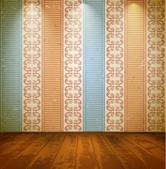 花柄の壁紙のある部屋