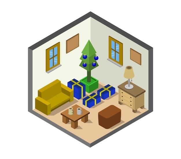 Комната с изометрической елкой