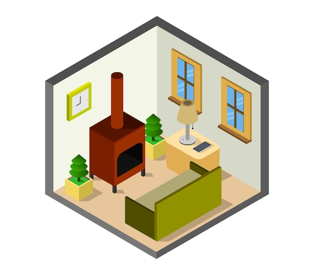 Room with isometric fireplace