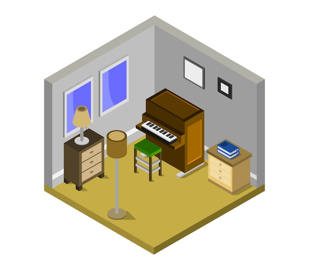 Room with isometric piano