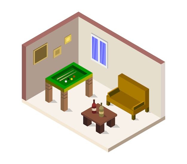 Room with isometric pool table