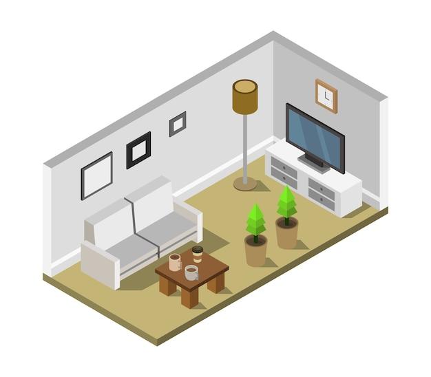 等尺性テレビのある部屋