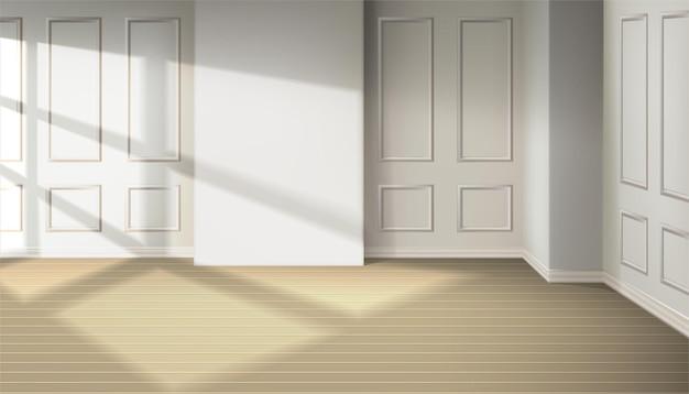 창문에서 빛이 나오는 방. 나무 바닥에 창에서 자연 그림자 효과.