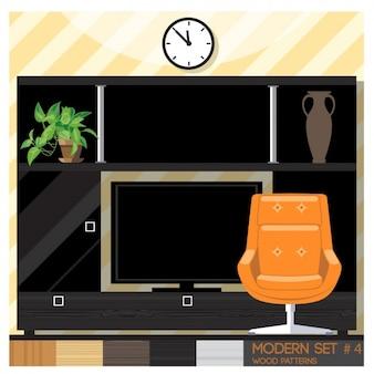 Camera con una poltrona arancione