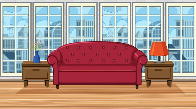 Room with red sofa and drawers