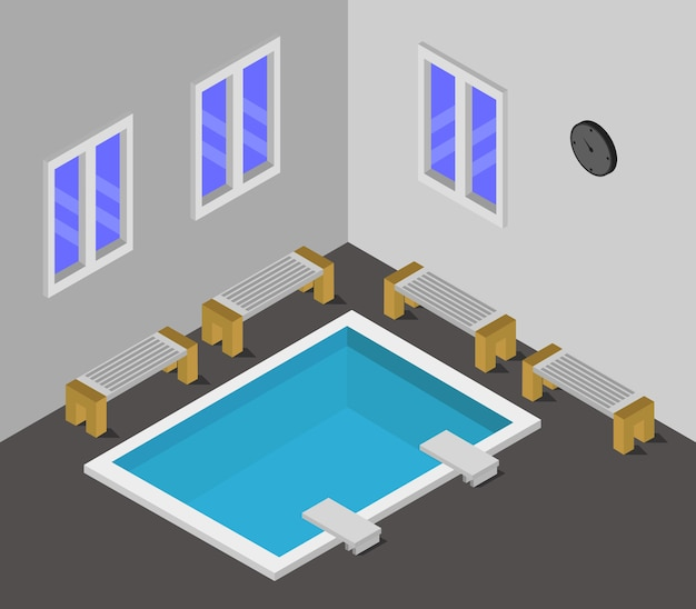 Room with swimming pool