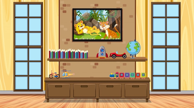 Room with wooden furnitures and toys