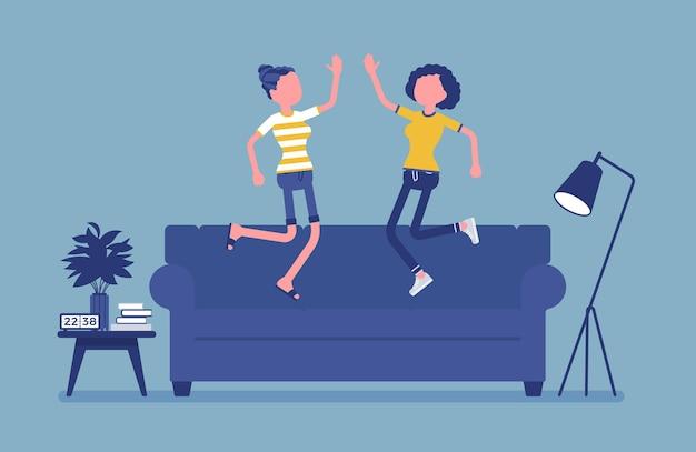 룸메이트 친구들은 함께 생활하는 것을 즐깁니다.
