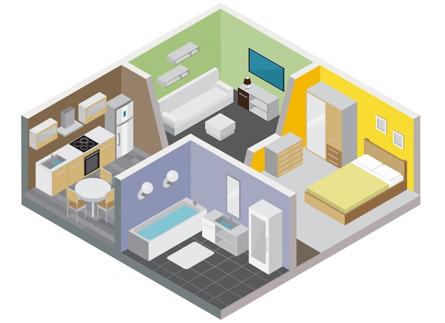 部屋のアパートのコンセプトキッチンバスルームベッドルームとリビングルーム等尺性