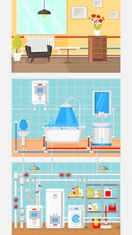 Rooms interior concept flat vector illustration.
