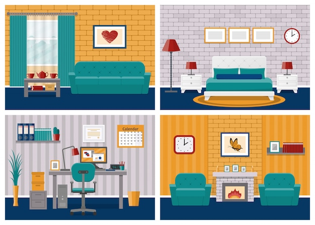 Rooms interiors. living room, bedroom, hotel, office workspace in flat design with furniture.