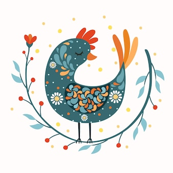 Rooster bird folk art
