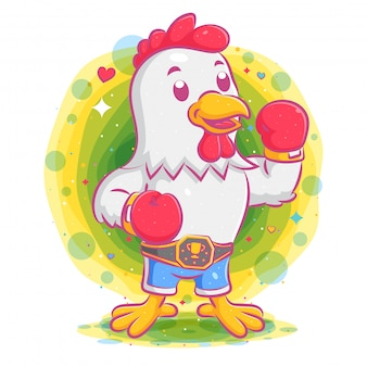Rooster boxer wearing boxing championship belt