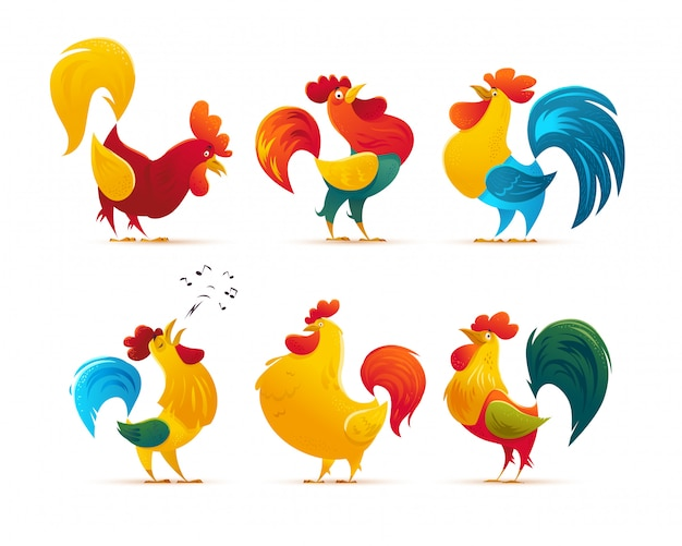 Rooster character portrait. vector flat illustration.