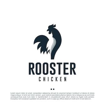 オンドリ、鶏肉、ロゴデザインテンプレート
