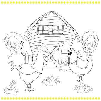 Rooster and chickens on the bacgroung of rural farm landscape - coloring book