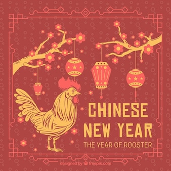 Rooster chinese new year retro card