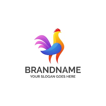Rooster colorful abstract logo