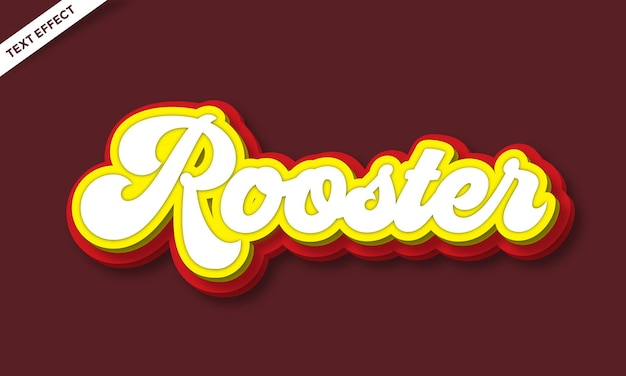Rooster colorful text effect design