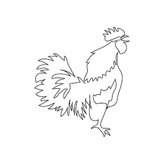 Rooster crowing one line art. continuous line drawing of poultry, domestic animal.