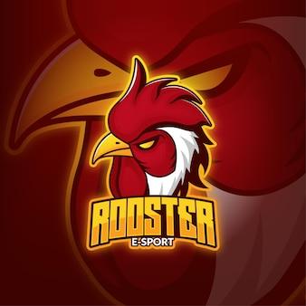 Rooster esport gaming mascot logo