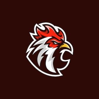 オンドリeスポーツイラストチキンヘッドマスコットスポーツゲームチームベクトルロゴ