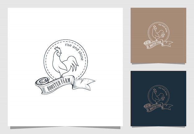 Rooster farm logo in retro style