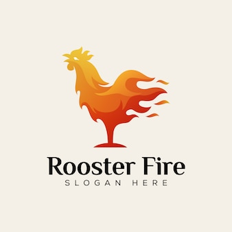 Rooster fire food logo, chicken hot food logo design template