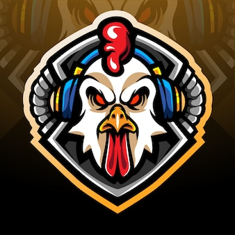 Rooster gaming esport logo mascot design
