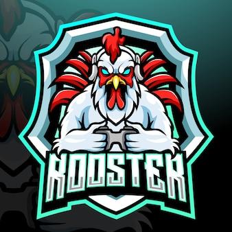 Петух игровой талисман киберспорт дизайн логотипа