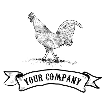 Rooster in graphical style, hand   drawn illustration