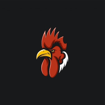 Rooster head logo design ilustration