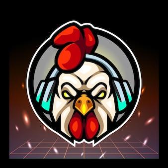 オンドリの頭のマスコットeスポーツのロゴデザイン