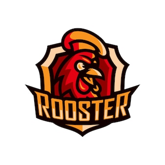 Rooster head mascot logo template esport vector illustration