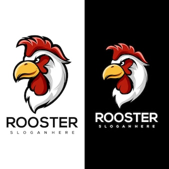 Rooster head mascot logo