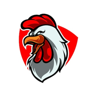 Rooster head sport mascot logo