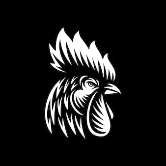 Rooster head vector illustration on dark background