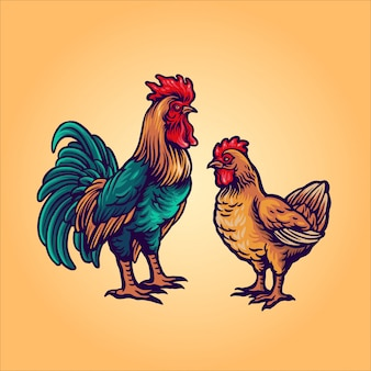 Rooster and hen cartoon