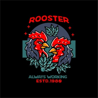 Rooster illustration classic style for tshirt