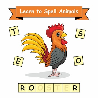 Rooster learn to spell animals worksheet