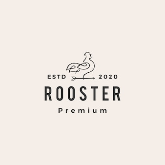 Rooster line arrow hipster vintage logo icon illustration